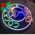 Open Neon Sign Colorful Round Shape Bar LED Channel Letter Signs